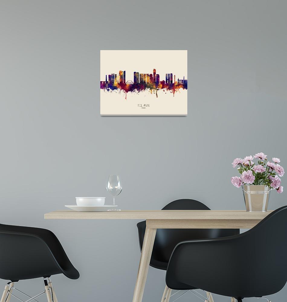 """Tel Aviv Israel Skyline""  (2019) by ModernArtPrints"
