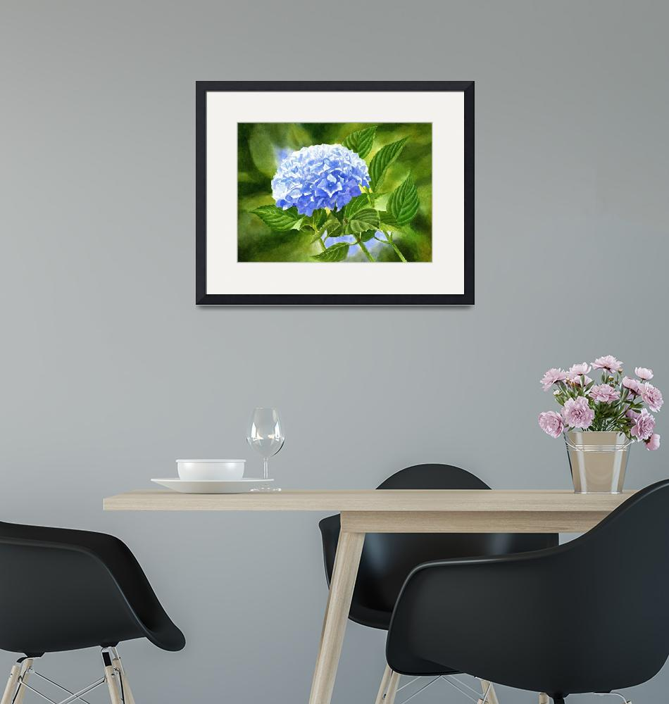 """""""Blue Hydrangea Blossom with Background"""" (2016) by Pacific-NW-Watercolors"""
