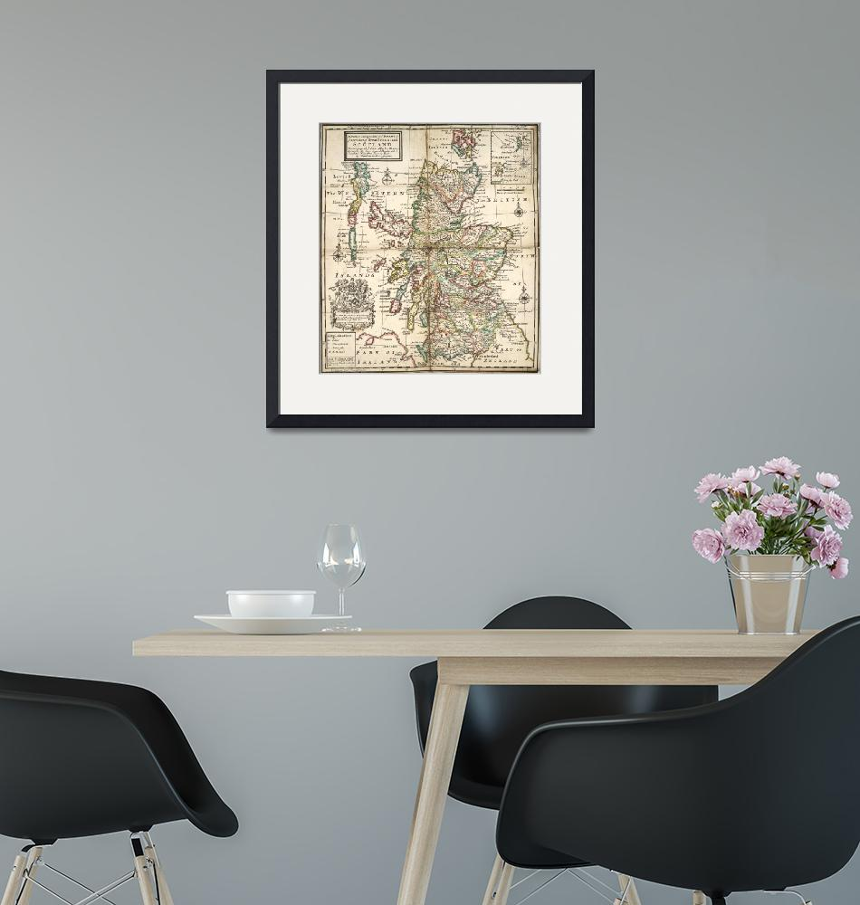 """""""Vintage Map of Scotland (1718)""""  by Alleycatshirts"""