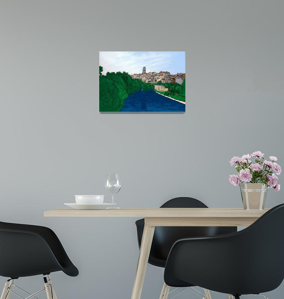 """""""City of Fribourg and Sarine river""""  (2012) by jntvisual"""
