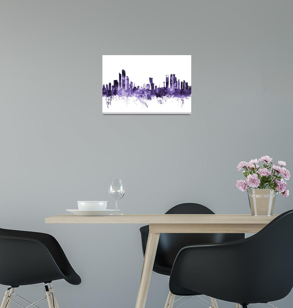 """Abu Dhabi Skyline""  (2018) by ModernArtPrints"