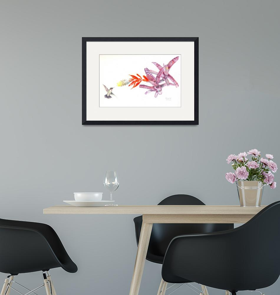 """Rufous Hummingbird with Bromeliad""  (2011) by PenGoff"
