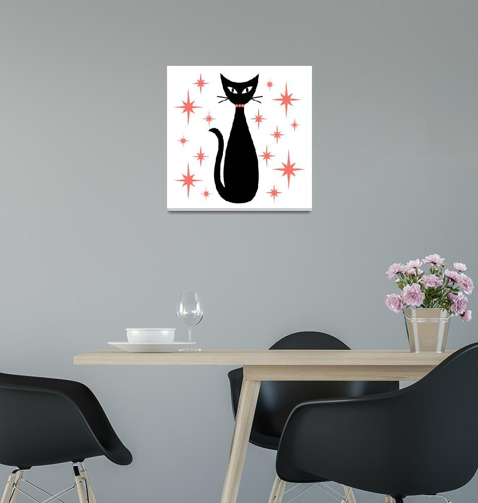 """""""Mid Century Cat with Pink Starbursts""""  by DMibus"""