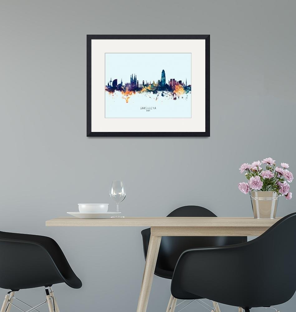 """Barcelona Spain Skyline""  (2019) by ModernArtPrints"