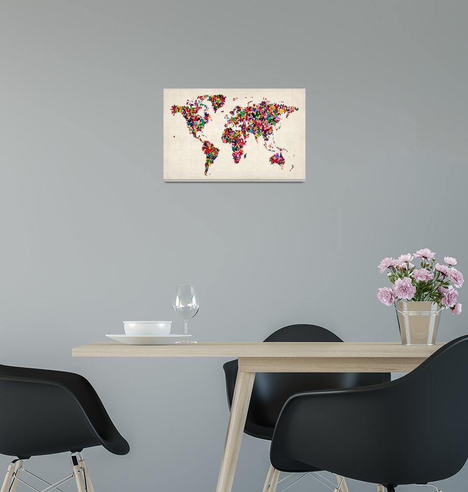 """""""Butterflies Map of the World Map""""  (2012) by ModernArtPrints"""