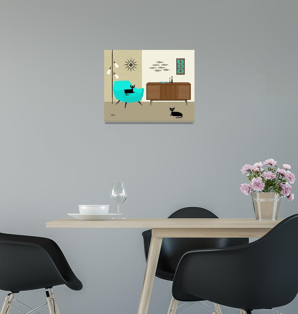 """""""Fish Wall Art with Aqua Chair""""  (2014) by DMibus"""