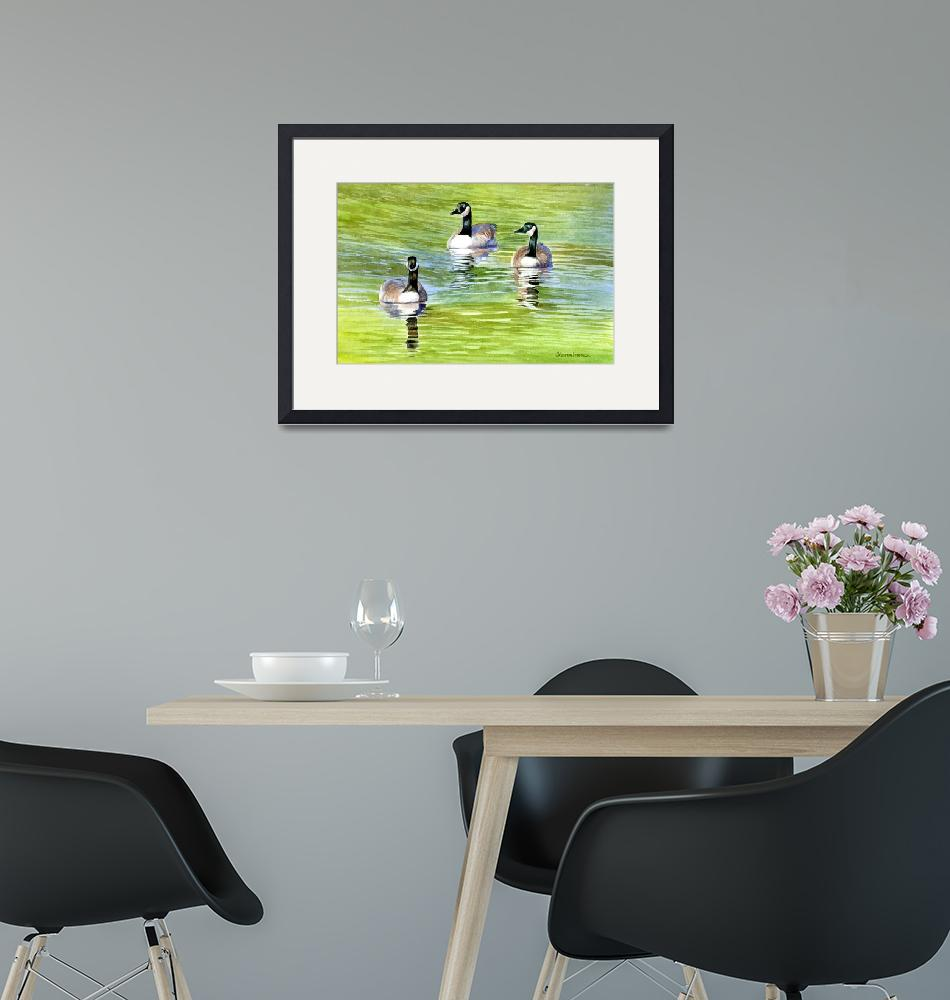 """""""Three Canda Geese on a Pond""""  (2011) by Pacific-NW-Watercolors"""