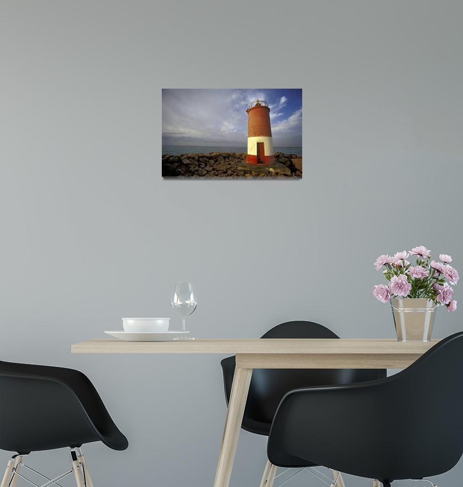 """Deserted lighthouse on empty beach""  by petrsvarc"