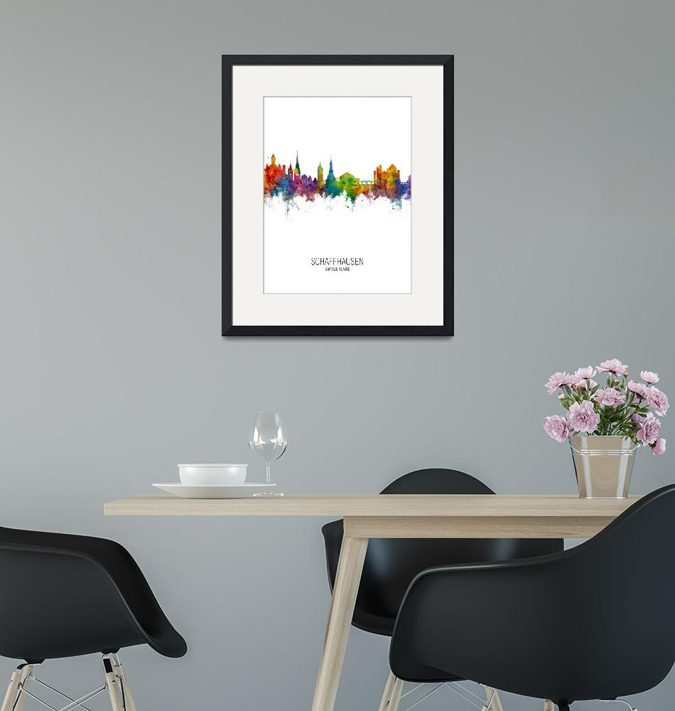 """Schaffhausen Switzerland Skyline""  (2018) by ModernArtPrints"