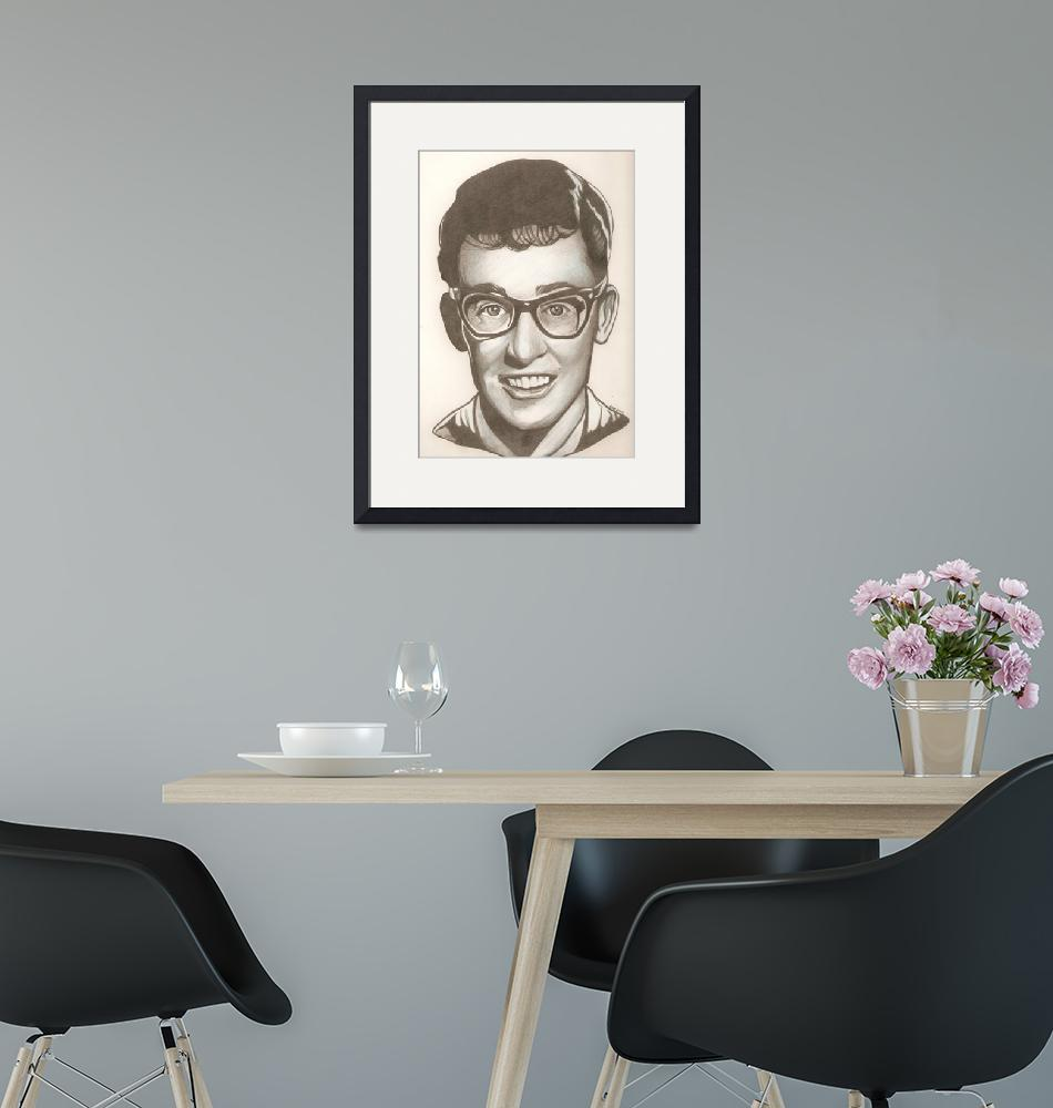 """""""Buddy Holly drawing""""  (2012) by RobCrandall"""