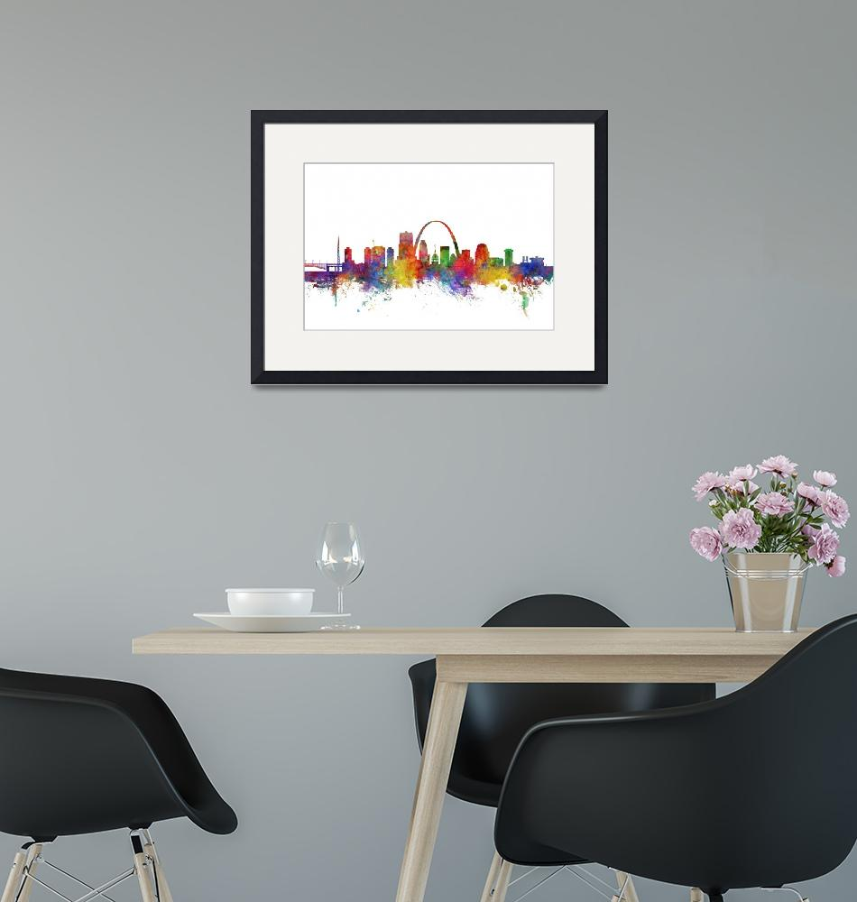 """St Louis Missouri Skyline""  (2018) by ModernArtPrints"