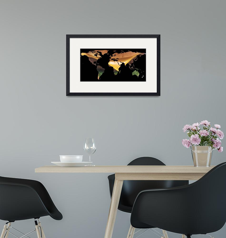 """""""World Map Silhouette - Cheeseburger""""  by Alleycatshirts"""