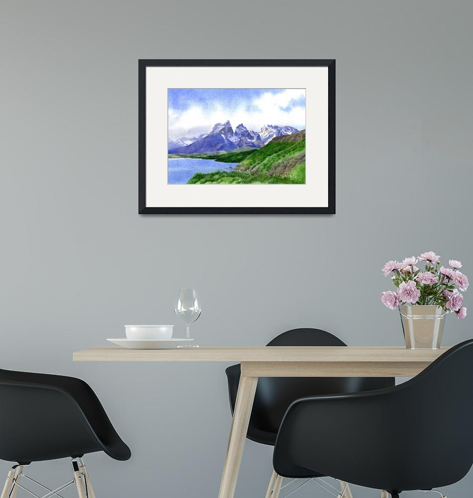 """Mountain Peaks at Torres Del Paine""  (2015) by Pacific-NW-Watercolors"