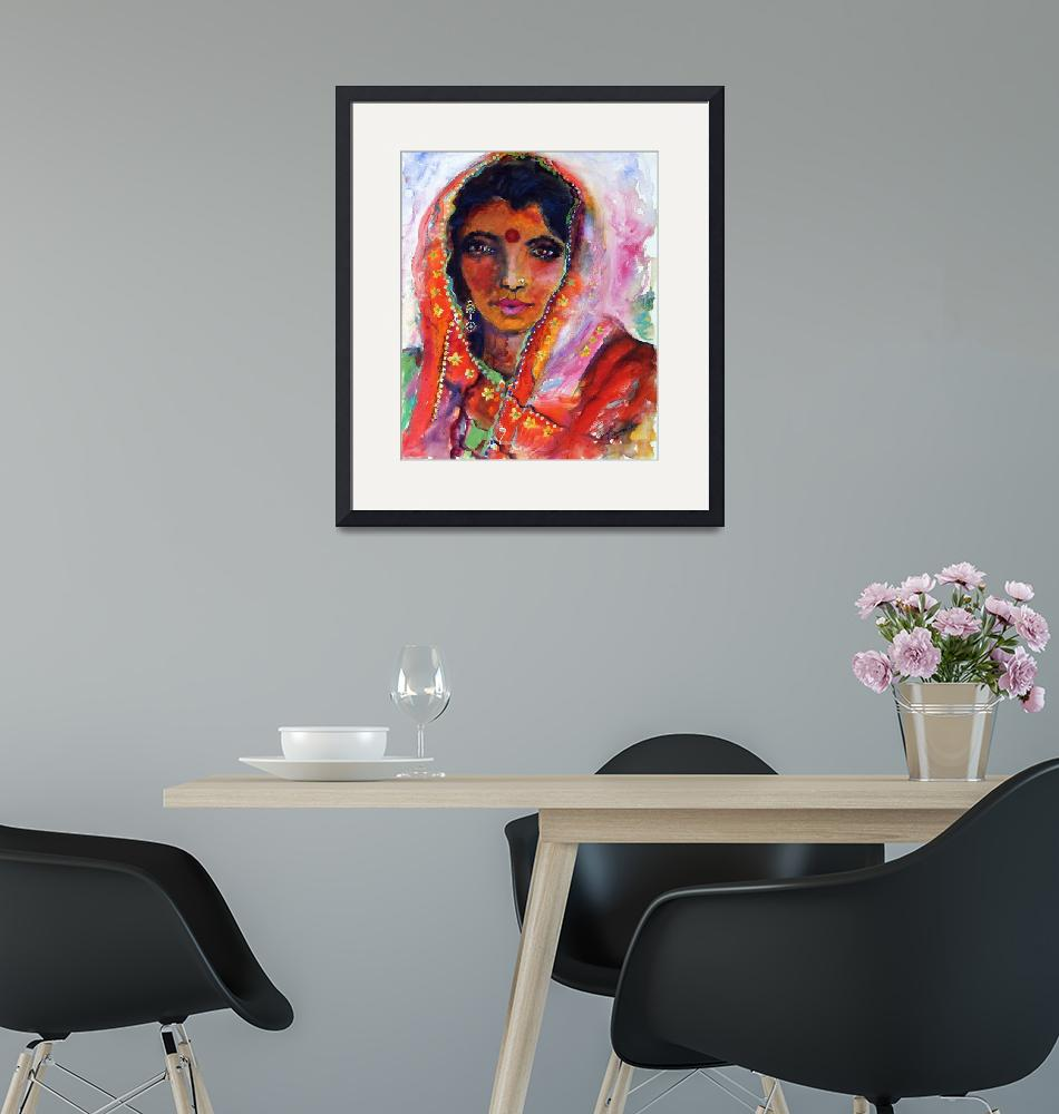"""""""Indian Woman with Red Bindi Mixed Media Painting b""""  (2008) by GinetteCallaway"""