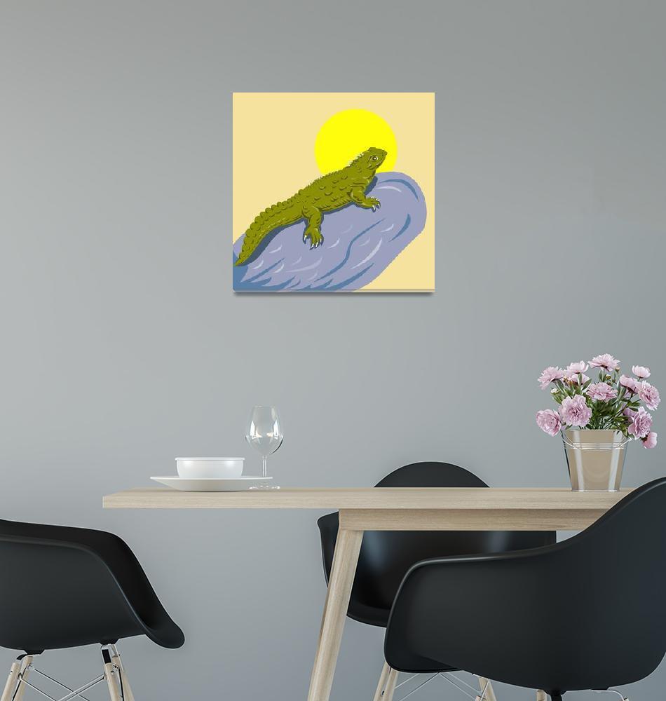 """New Zealand Tuatara Retro""  (2012) by patrimonio"