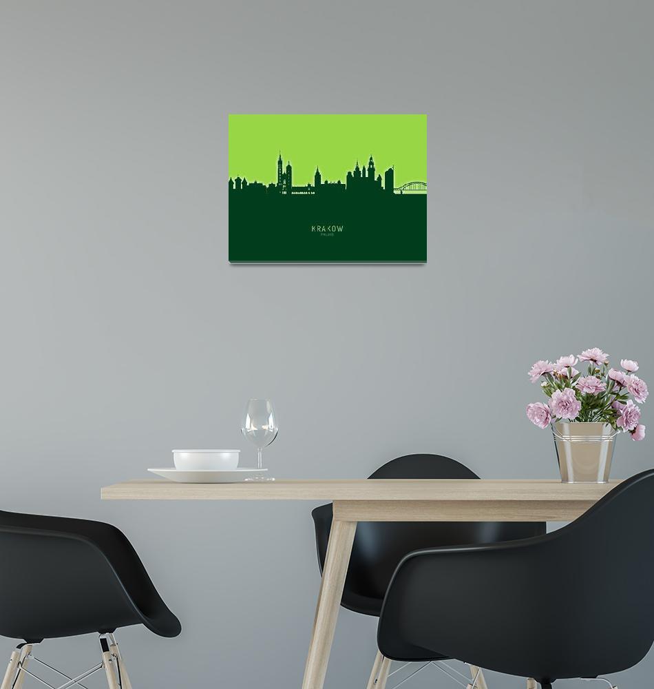 """Krakow Poland Skyline""  (2020) by ModernArtPrints"