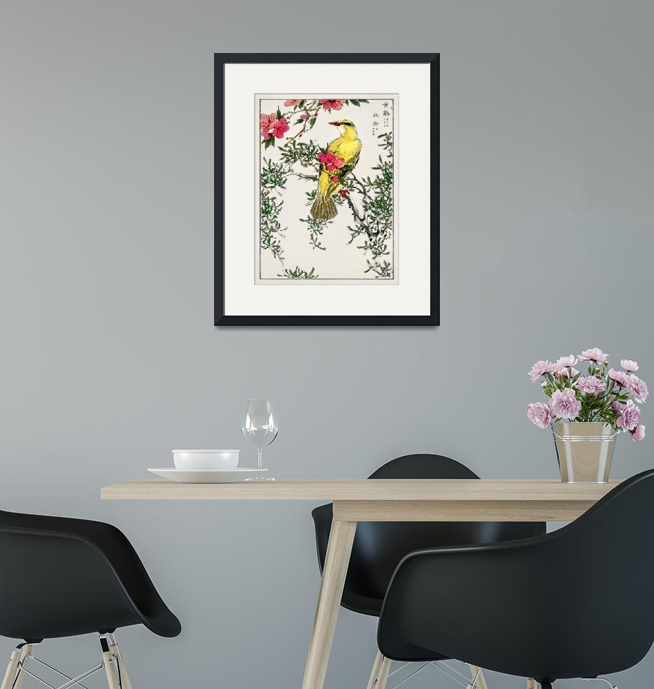 """""""Bush Warbler and Drooping Peach by Numata Kashu""""  by FineArtClassics"""