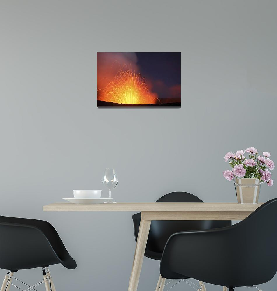 """Strombolian eruption on starlit night, Yasur Volca""  by stocktrekimages"