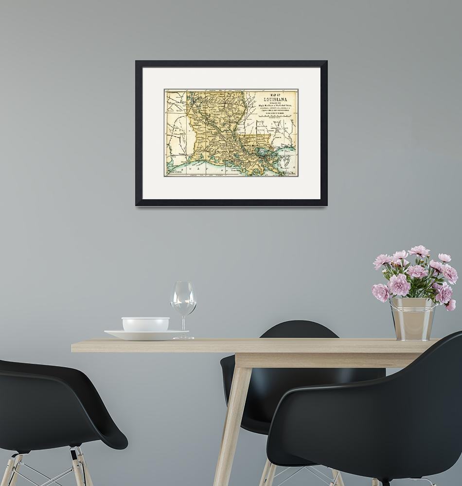 """""""Louisiana Antique Map 1891""""  (2016) by WilshireImages"""