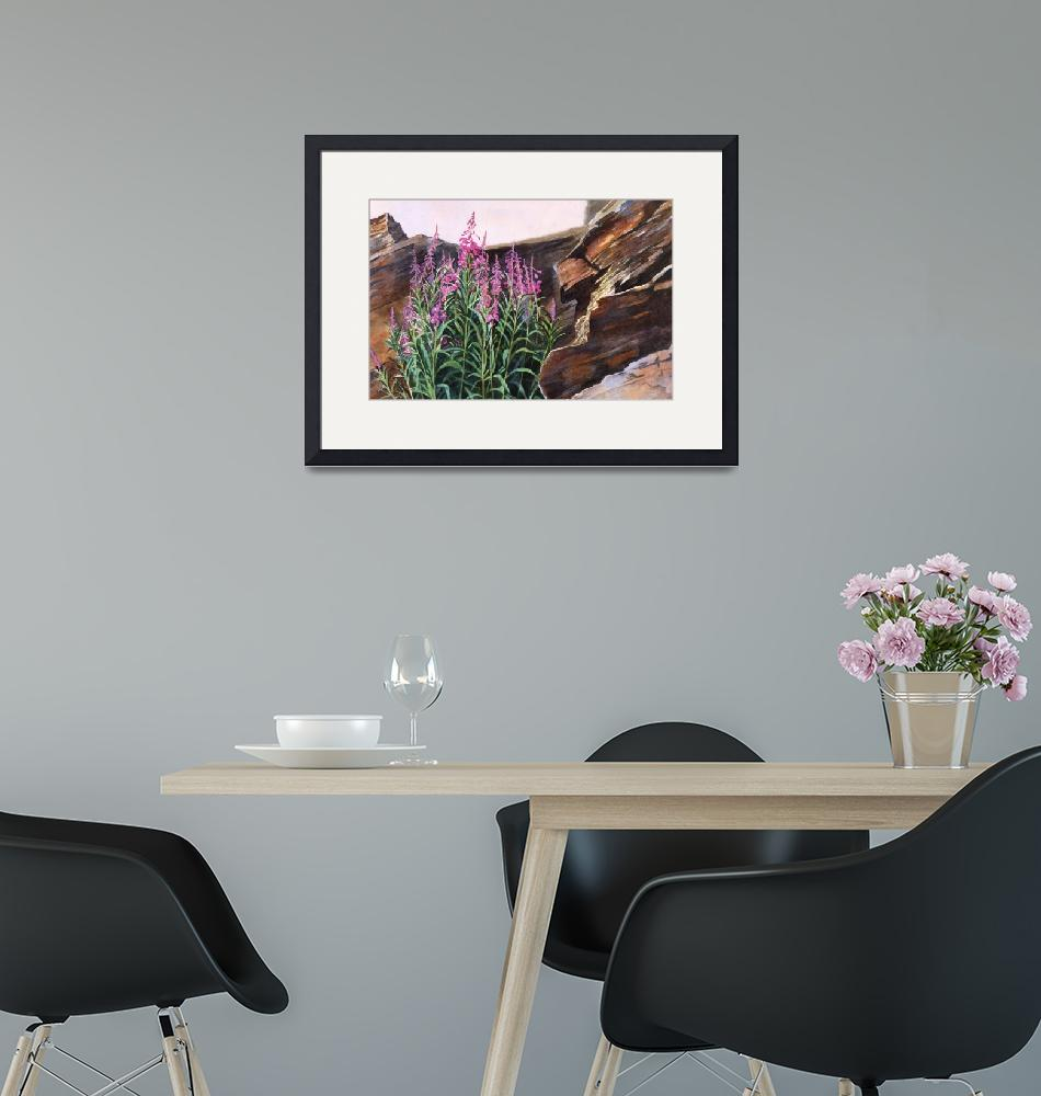 """""""Pocket of Color, Fireweed and Rocks"""" (2010) by Pacific-NW-Watercolors"""