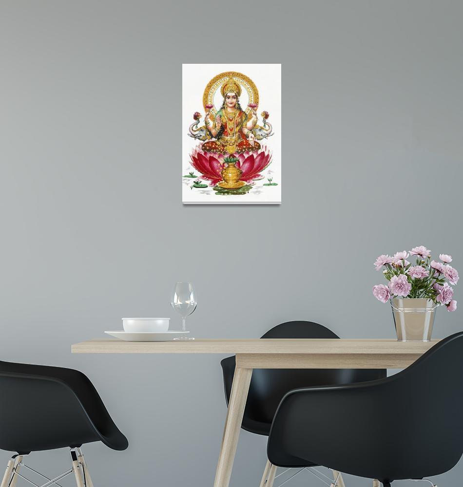 """Lakshmi Poster Hindugods Hindu Goddess Art""  (1980) by Maggy"