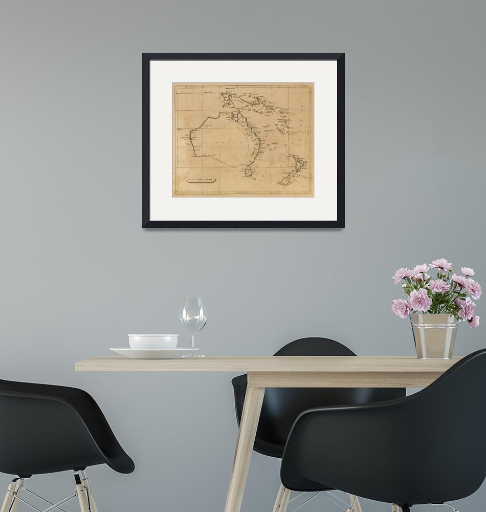 """""""Vintage Map of Australia & New Zealand (1812)""""  by Alleycatshirts"""
