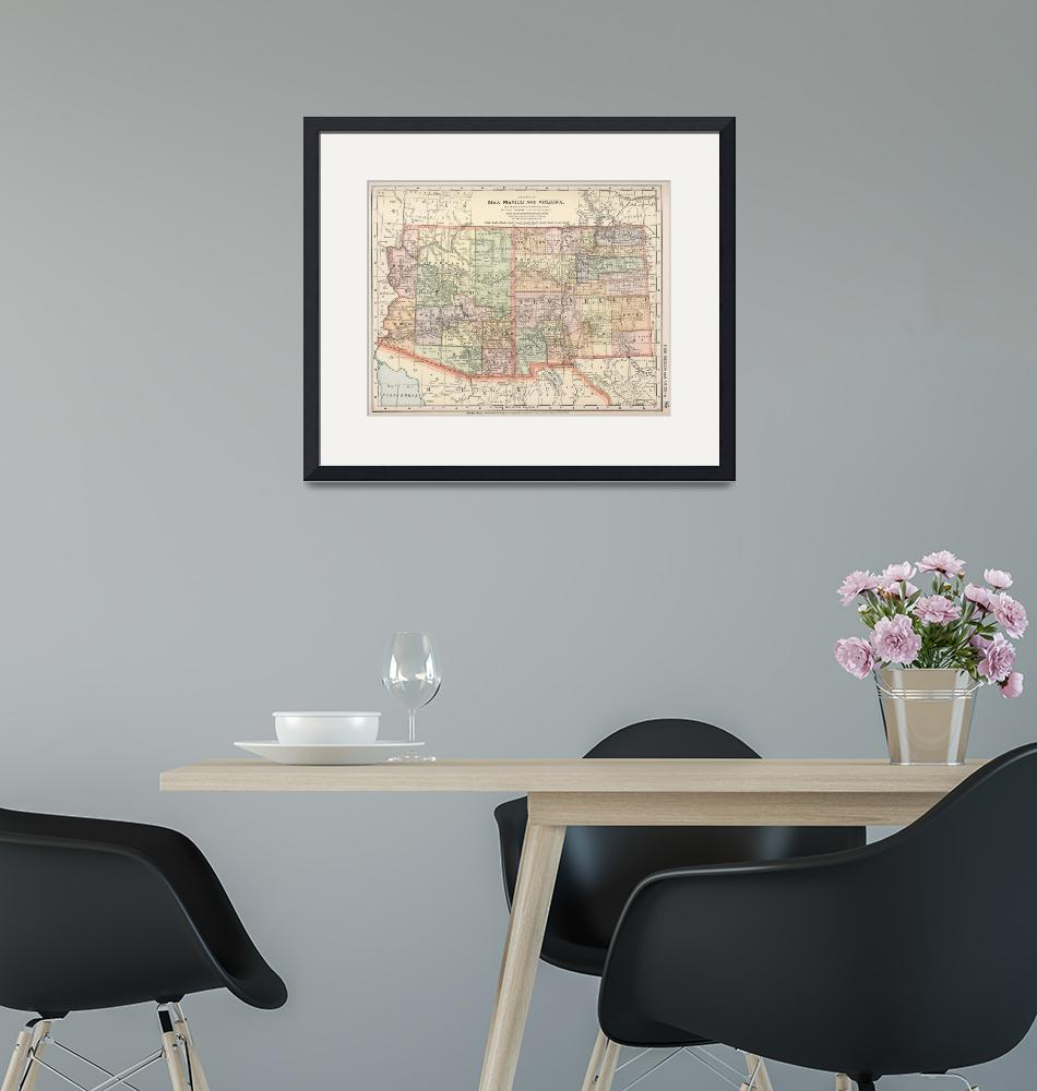 """Vintage Map of Arizona and New Mexico (1891)""  by Alleycatshirts"
