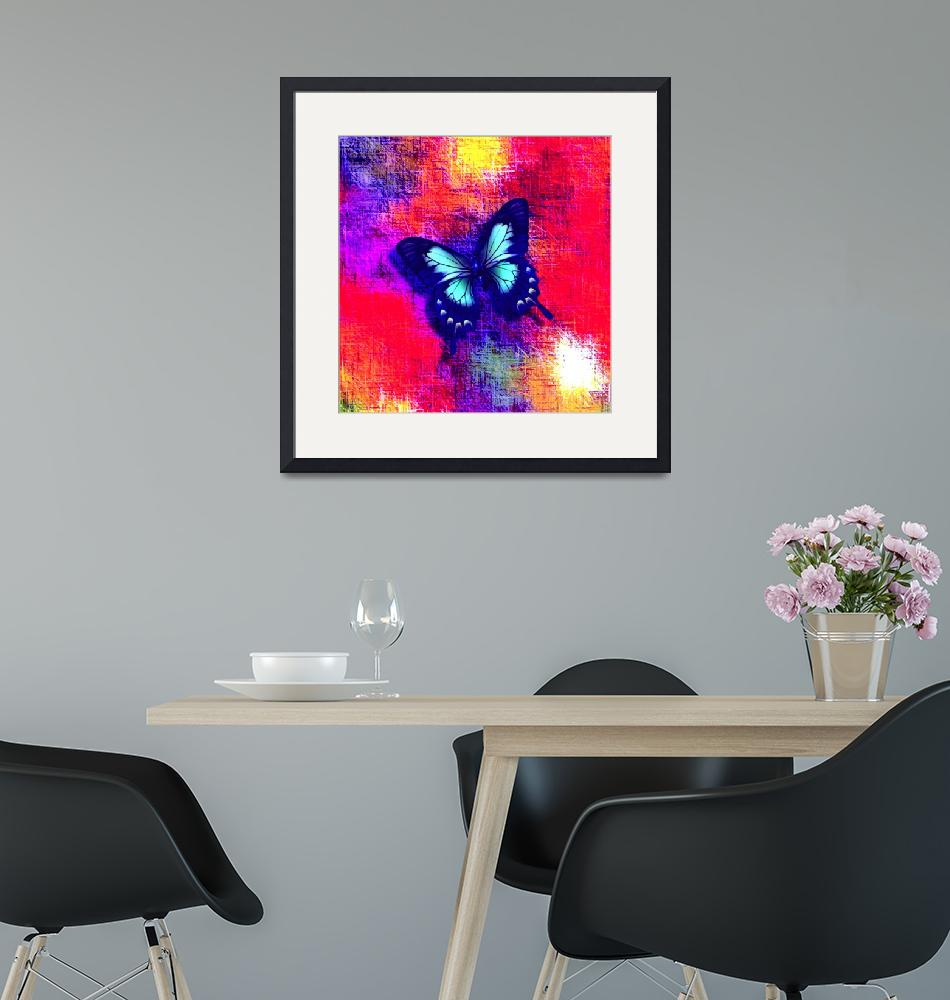 """""""Aqua Blue Butterfly on Red Violet Abstract""""  (2013) by TheNorthernTerritory"""