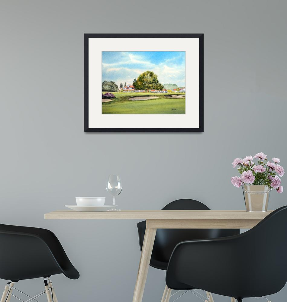 """Sunningdale Golf Course 18th Green Painting""  (2015) by billholkham"