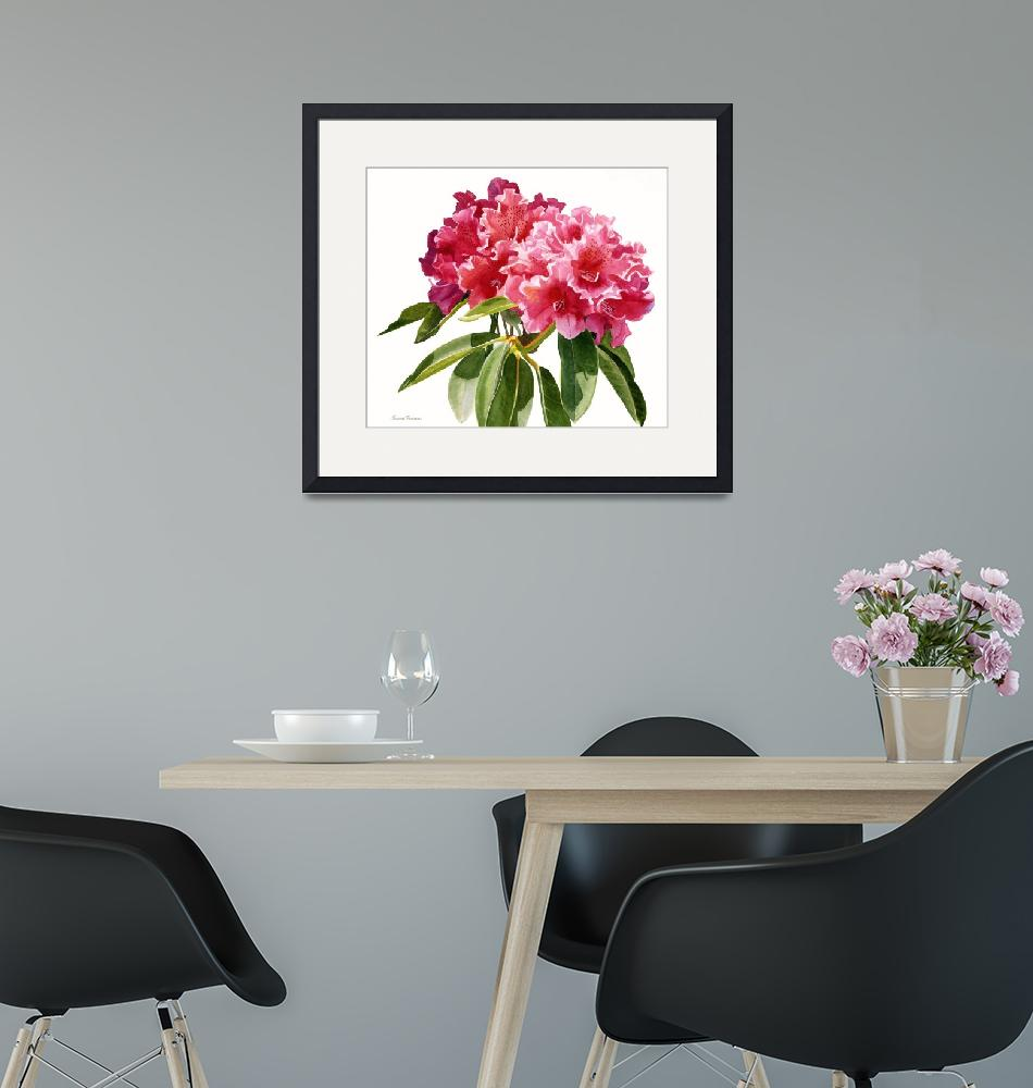 """""""Red Rhododendron Blossoms""""  (2018) by Pacific-NW-Watercolors"""