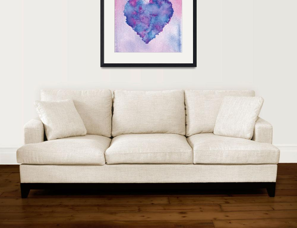 """""""Watercolor painting of a colorful heart.&quot  (2014) by nopiepan"""