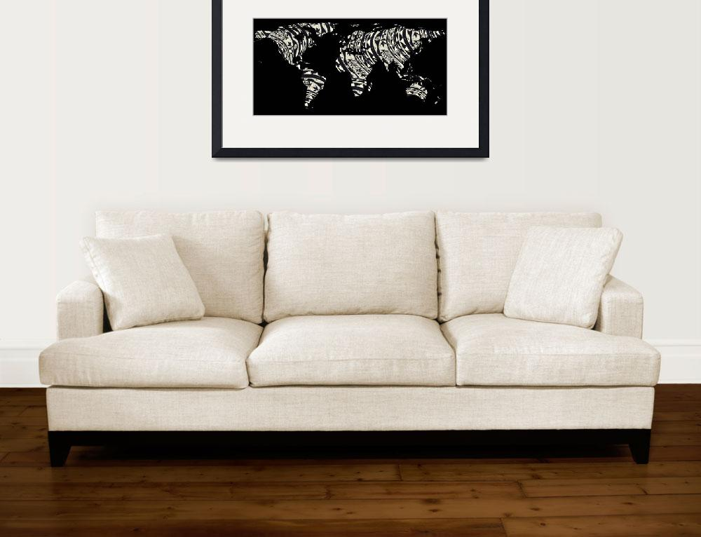 """""""World Map Silhouette - Patterned Mandala 04&quot  by Alleycatshirts"""