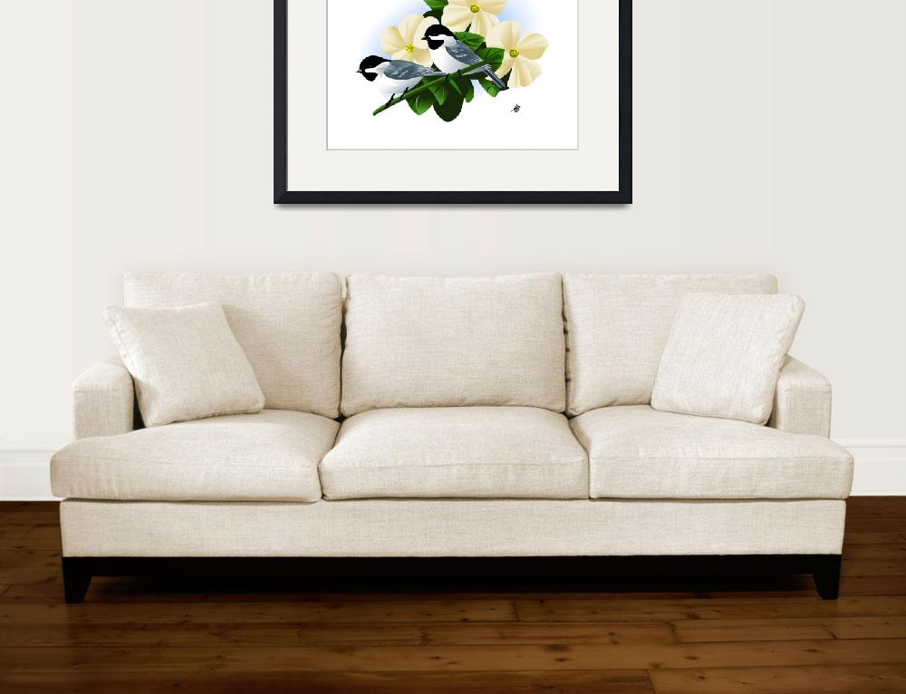 """""""Black Capped Chickadee Art&quot  by waterart"""