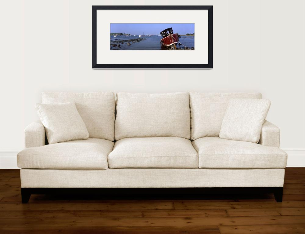 """""""Boat Moored In The Sea, Strangford Lough, County D&quot  by DesignPics"""