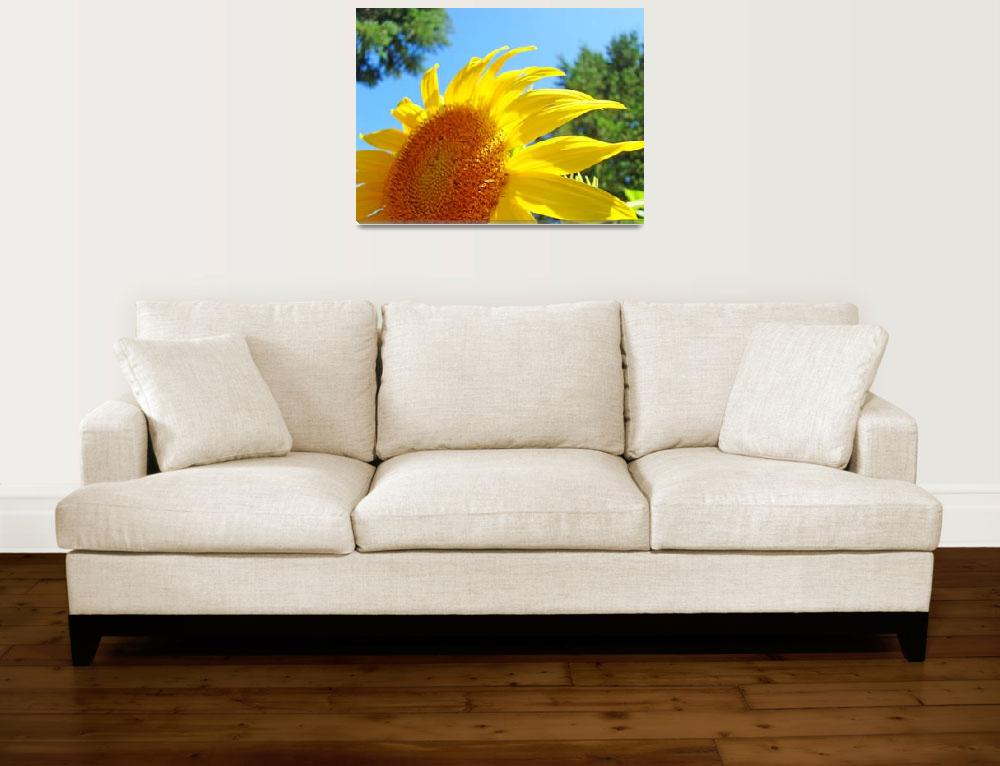 """Sunflower Yellow Bright Sunny Sun Flower Art Print""  (2009) by BasleeTroutman"