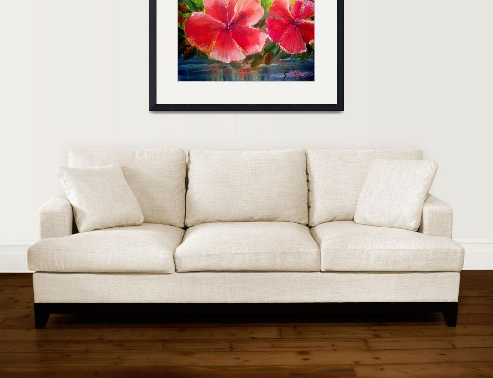 """""""Hibiscus Flower Oil Painting&quot  (2009) by mazz"""