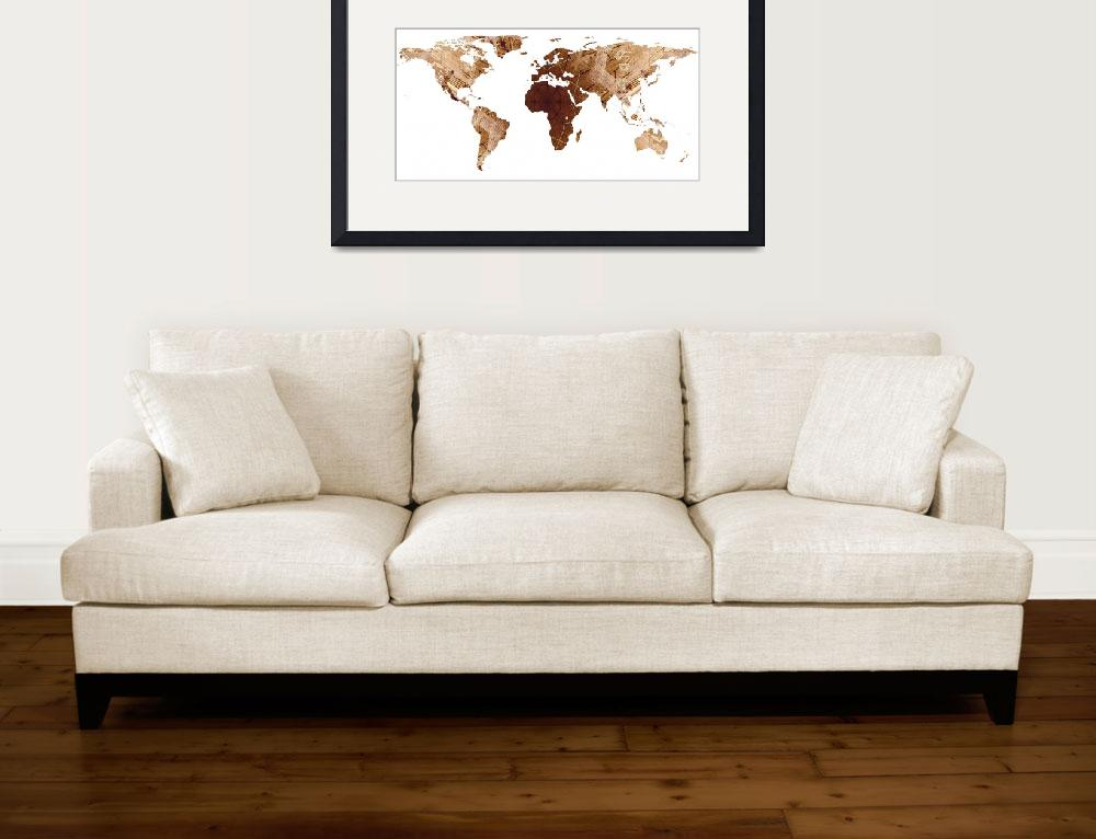 """World Map Silhouette - Brown Mandala&quot  by Alleycatshirts"
