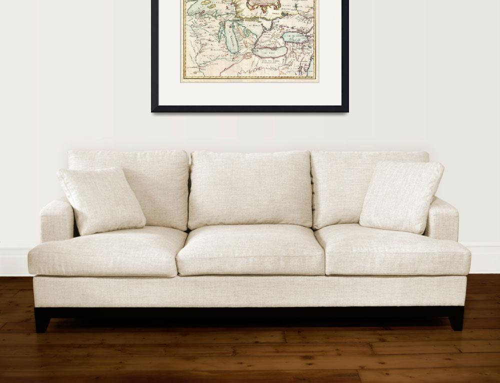 """""""Vintage Map of The Great Lakes (1755)&quot  by Alleycatshirts"""