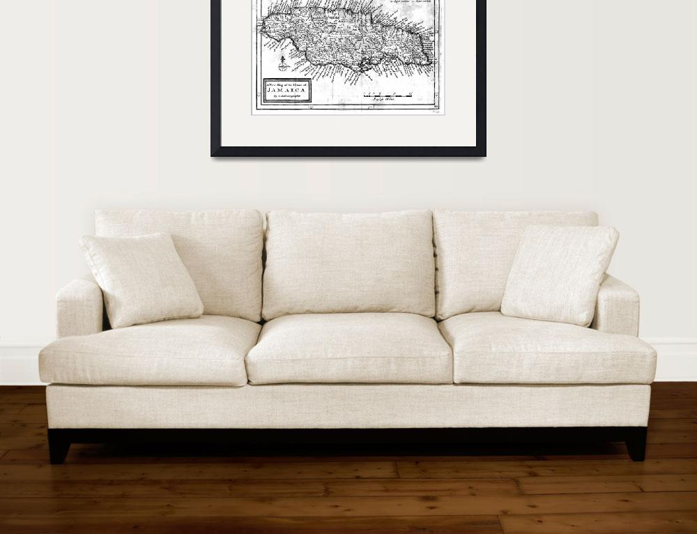 """""""Vintage Map of Jamaica (1771) BW&quot  by Alleycatshirts"""
