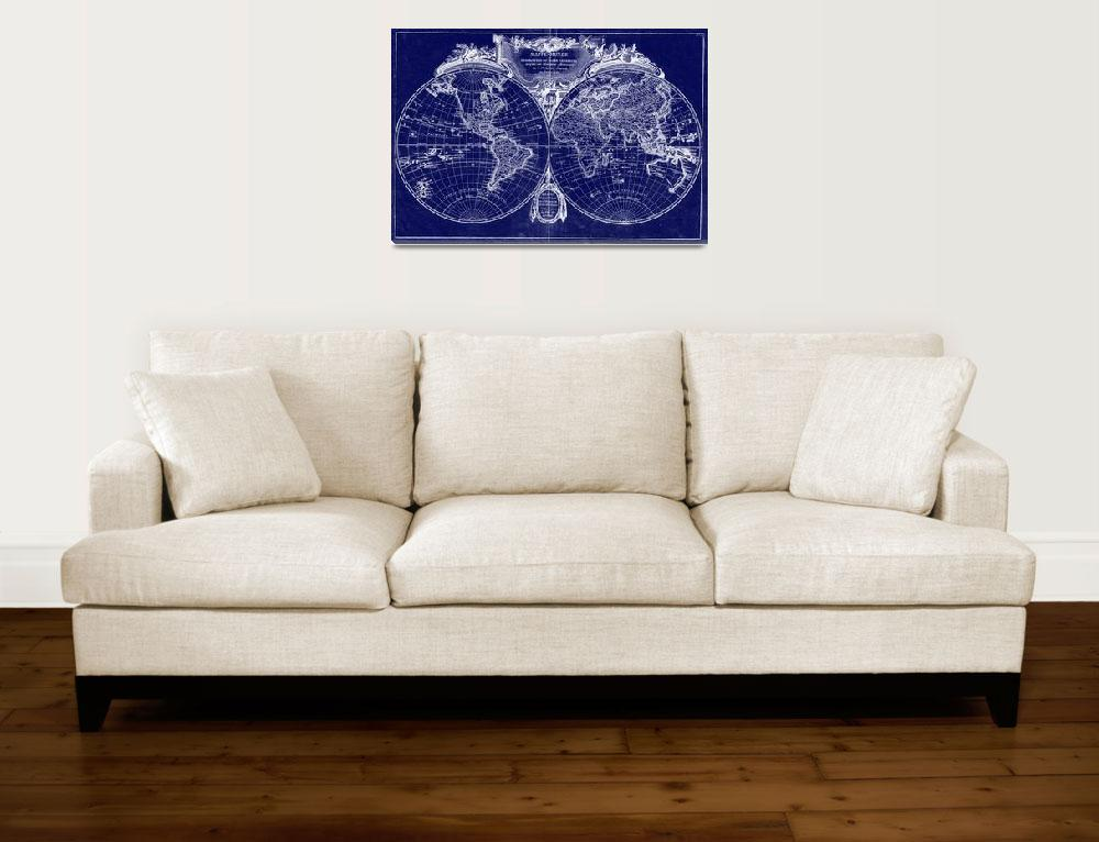 """World Map (1775) Blue & White&quot  by Alleycatshirts"