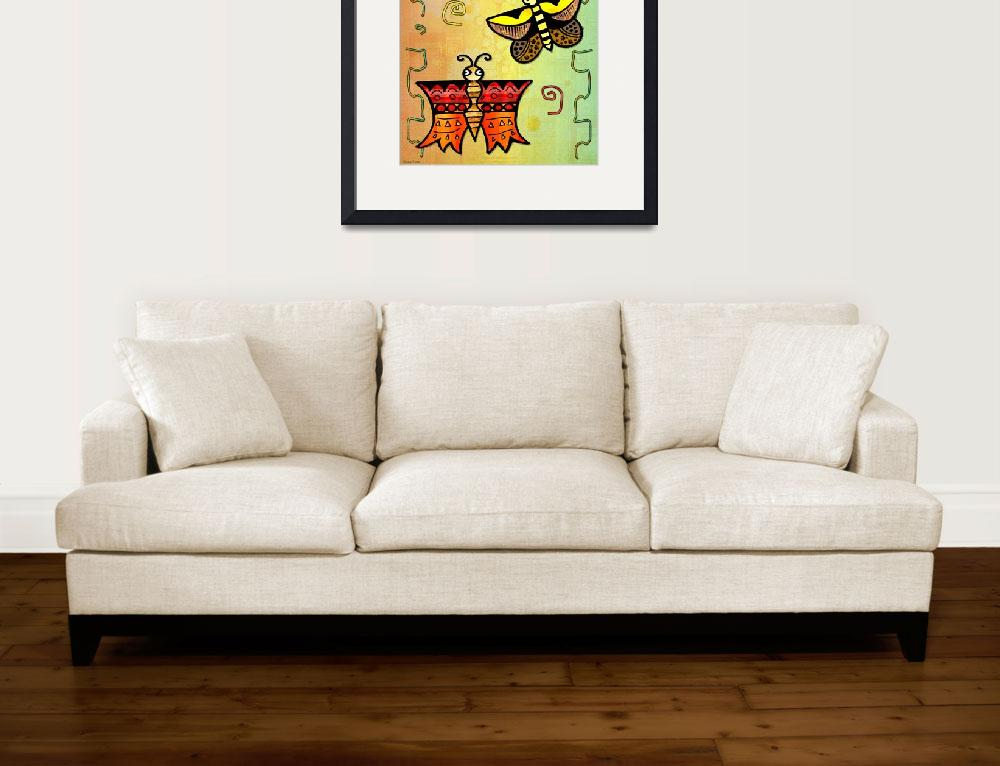"""""""Zuni POSTERS Butterly Folk Art&quot  (2013) by ReneeLozenGraphics"""