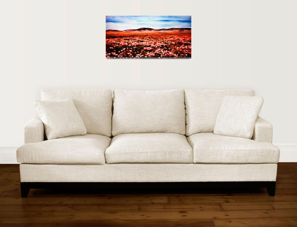 """""""Antelope Valley Poppy Fields Watercolor Panorama&quot  (2010) by johncorney"""