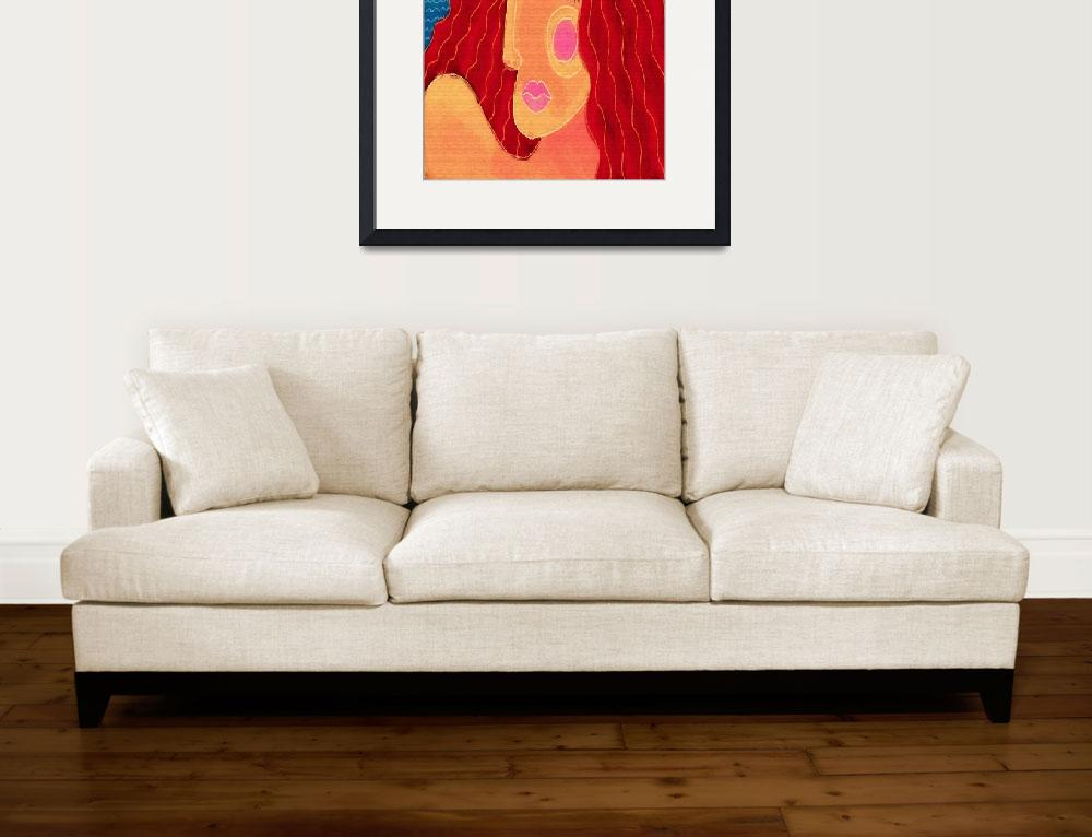 """""""Abstract Woman with Red Hair Digital Portrait&quot  (2015) by jackieludtke"""
