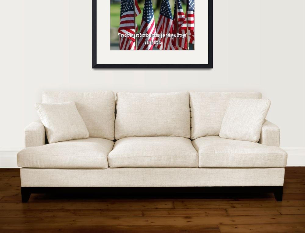 """""""USA6 Flag Row Michelle O Strong Quote Large White&quot  by Obama_University"""