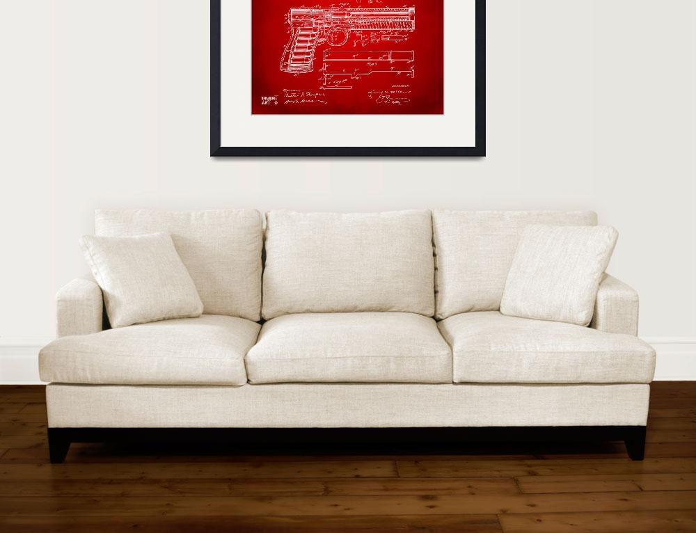 """""""1903 Mcclean Pistol Patent Red&quot  by nikkismith"""