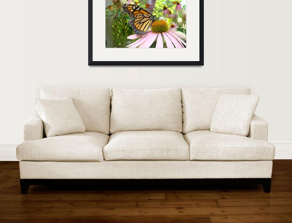 """""""Monarch Butterfly Art Prints Pink Cone Flower&quot  (2014) by BasleeTroutman"""