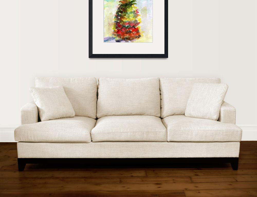 """""""Pineapple Tropical Fruit Still Life Watercolor&quot  (2012) by GinetteCallaway"""