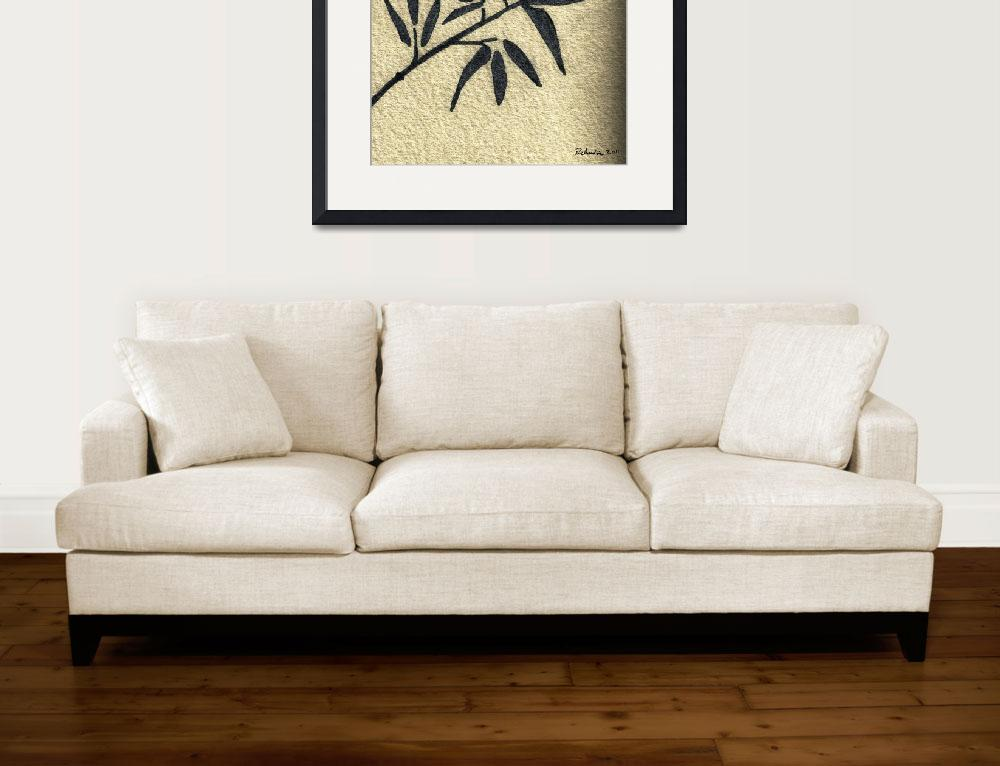"""""""Zen Sumi Antique Botanical 4a Black Ink on Waterco&quot  (2011) by Ricardos"""