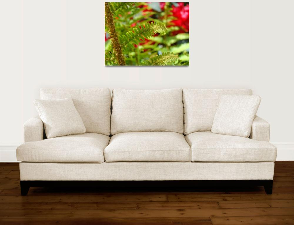 """Green Fern Branch Art Red Flowers Garden""  (2014) by BasleeTroutman"