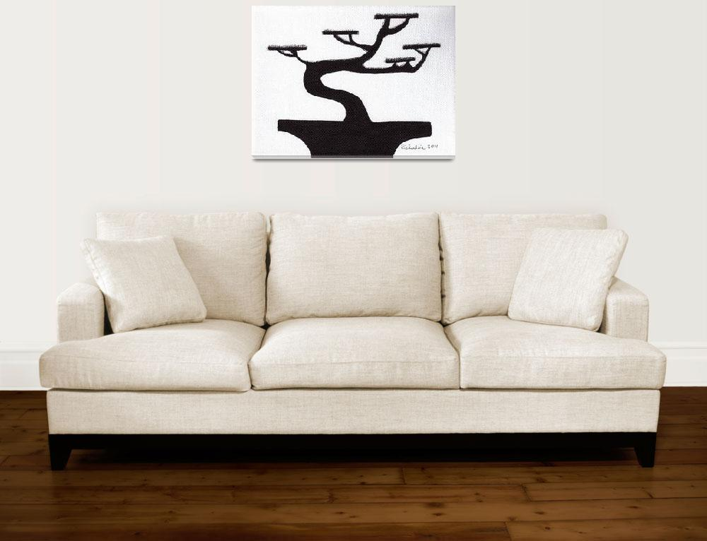"""Zen Sumi Bonsai Tree 1a Ink on Canvas""  (2011) by Ricardos"
